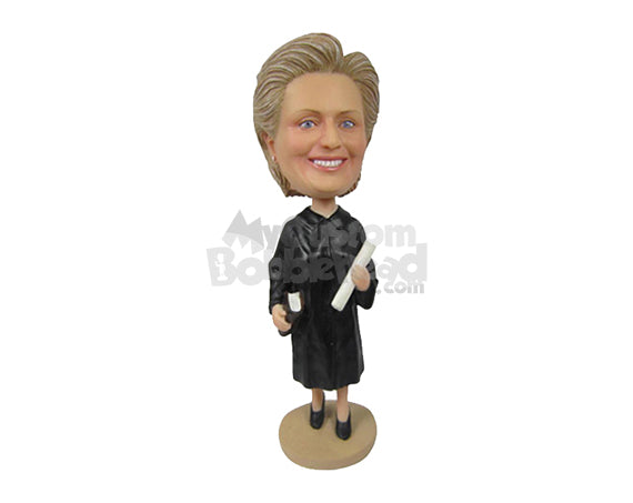 Custom Bobblehead Female Lawyer In Her Court Outfit And Heels With A Law Book In Her Hand - Careers & Professionals Lawyers Personalized Bobblehead & Cake Topper