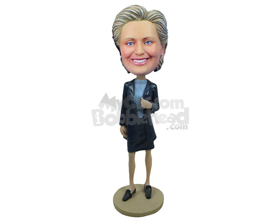 Custom Bobblehead Business Lady Wearing A Jacket Over Her Top And Short Skirt - Careers & Professionals Corporate & Executives Personalized Bobblehead & Cake Topper