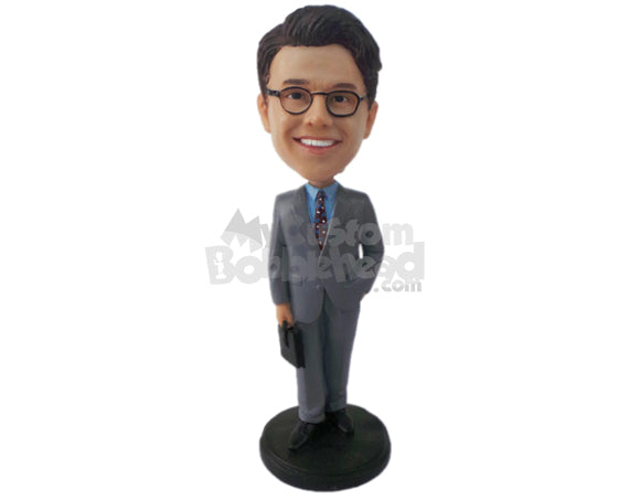 Custom Bobblehead Gentleman In His Formal Attire With One Hand In The Pocket - Careers & Professionals Corporate & Executives Personalized Bobblehead & Cake Topper