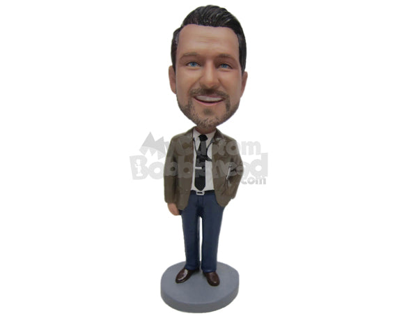 Custom Bobblehead Businessman Guy Wearing Jacket And Jeans - Careers & Professionals Corporate & Executives Personalized Bobblehead & Cake Topper
