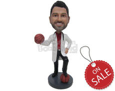 Custom Bobblehead Basketball Aficionado Doctor In His Formal Medical Attire - Careers & Professionals Medical Doctors Personalized Bobblehead & Cake Topper