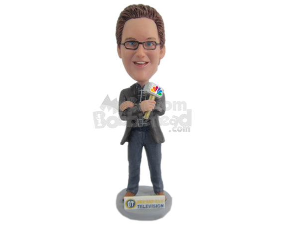 Custom Bobblehead Male Reporter Wearing Suit And Jeans Ready For The Broadcast - Careers & Professionals Reporters Personalized Bobblehead & Cake Topper