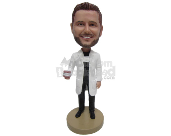 Custom Bobblehead Dentist Wearing Long Lab Coat And Showing Denture Dental Transplant - Careers & Professionals Dentists Personalized Bobblehead & Cake Topper