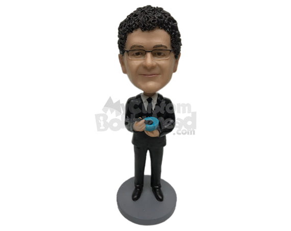 Custom Bobblehead Businessman In Classy Formal Suit Having Some Soup - Careers & Professionals Corporate & Executives Personalized Bobblehead & Cake Topper