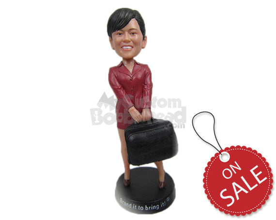 Custom Bobblehead Corporate Girl In A Trendy Outfit Lifting A Heavy Bag - Careers & Professionals Corporate & Executives Personalized Bobblehead & Cake Topper