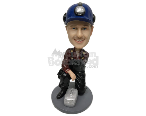 Custom Bobblehead Male Engineer Wearing A Suspender Has A Box Of Equipment With Him - Careers & Professionals Architects & Engineers Personalized Bobblehead & Cake Topper