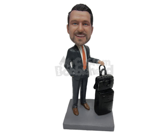 Custom Bobblehead Businessman Ready To Board The Plane With 2 Carry On Suitcases - Careers & Professionals Corporate & Executives Personalized Bobblehead & Cake Topper