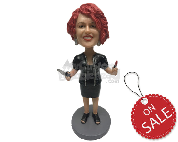 Custom Bobblehead Lady Hairstylist Wearing A Jacket Over Her Strapless T-Shirt - Careers & Professionals Barbers & Hairstylists Personalized Bobblehead & Cake Topper