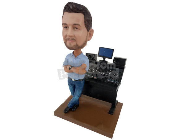 Custom Bobblehead Male Recording Studio Director Wearing Shirt And Jeans - Professional DJ - Careers & Professionals Musicians Personalized Bobblehead & Cake Topper