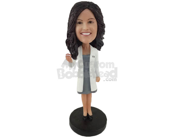 Custom Bobblehead Female Dentist Showing Off A Denture Prop - Careers & Professionals Dentists Personalized Bobblehead & Cake Topper