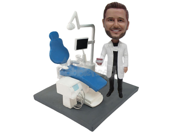 Custom Bobblehead Male Dentist Standing Next To Reclining Chair & Computerized Equipment - Careers & Professionals Dentists Personalized Bobblehead & Cake Topper
