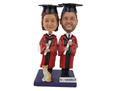 Custom Bobblehead Graduates Holding Their Degrees - Careers & Professionals Graduates Personalized Bobblehead & Cake Topper