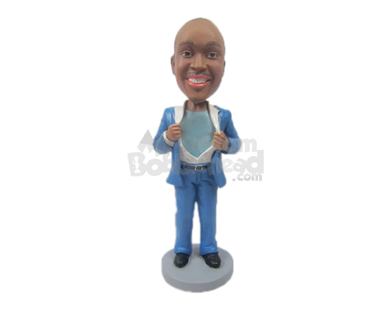 Custom Bobblehead Cool Corporate Pal Showing His Secret Desire To Be A Superhero - Careers & Professionals Corporate & Executives Personalized Bobblehead & Cake Topper