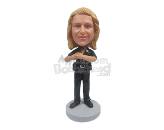 Custom Bobblehead Gorgeous Policewoman Ready Her Work And Wearing Her Professional Attire - Careers & Professionals Arm Forces Personalized Bobblehead & Cake Topper