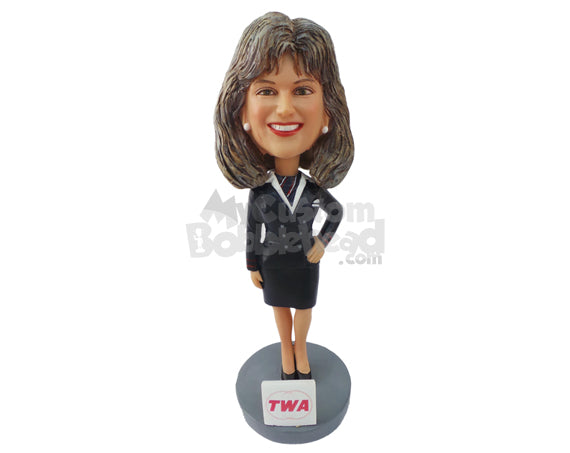 Custom Bobblehead Air Hostess Ready To Serve - Careers & Professionals Arms Forces Personalized Bobblehead & Cake Topper