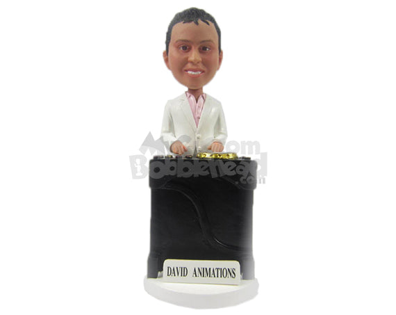 Custom Bobblehead Cool Corporate Pal In Formal Attire Trying To Be A Dj - Careers & Professionals Corporate & Executives Personalized Bobblehead & Cake Topper