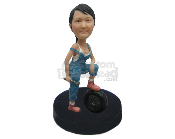 Custom Bobblehead Cool Lady Wearing A Gorgeous Mechanic Attire - Careers & Professionals Architects & Engineers Personalized Bobblehead & Cake Topper