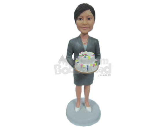 Custom Bobblehead Cool Corporate Lady In Formal Outfit Celebrating Birthday - Careers & Professionals Corporate & Executives Personalized Bobblehead & Cake Topper