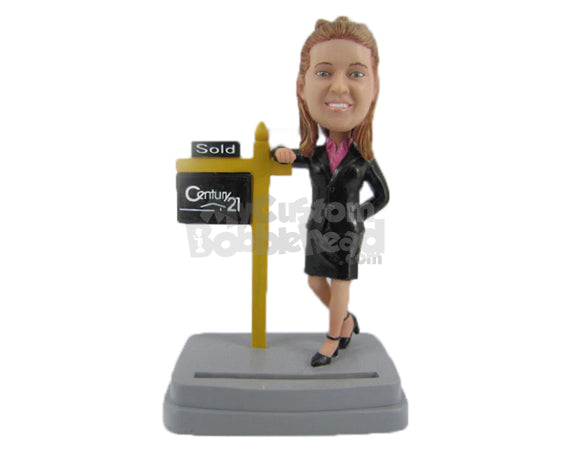 Custom Bobblehead Gorgeous Girl Wearing A Trendy Suit Selling Some Property - Careers & Professionals Corporate & Executives Personalized Bobblehead & Cake Topper
