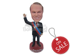 Custom Bobblehead President Weaving Hello With His Hands In The Air Wearing Classy Suit - Careers & Professionals Presidents Personalized Bobblehead & Cake Topper