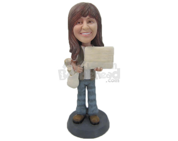 Custom Bobblehead Gorgeous Female Reporter Wearing Jeans And Heavy Boots - Careers & Professionals Reporters Personalized Bobblehead & Cake Topper