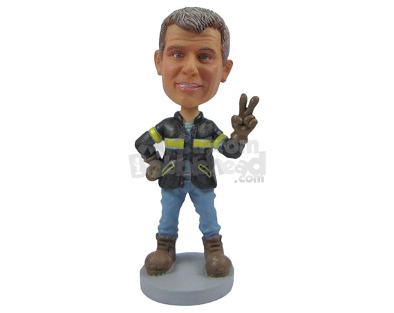 Custom Bobblehead Cool Pal Ready To Have A Go Wearing Jacket, Jeans And Heavy Boots - Careers & Professionals Athletes Personalized Bobblehead & Cake Topper