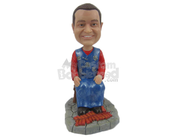 Custom Bobblehead Chinese Firecracker Master Ready Blow The Town - Careers & Professionals Firefighters Personalized Bobblehead & Cake Topper