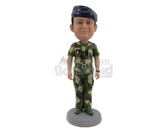 Custom Bobblehead Army Officer On His Duty Wearing Army Suit - Careers & Professionals Arm Forces Personalized Bobblehead & Cake Topper