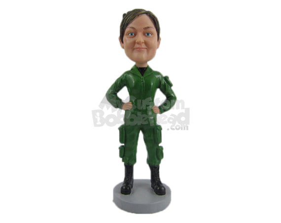 Custom Bobblehead Female Officer In Her Attire And Ready To Go - Careers & Professionals Arm Forces Personalized Bobblehead & Cake Topper