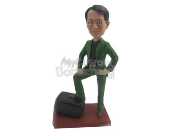 Custom Bobblehead Corporate Dude In Elegant Jacket And Pants - Careers & Professionals Corporate & Executives Personalized Bobblehead & Cake Topper