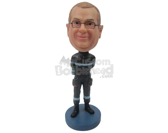 Custom Bobblehead Cool Guy Eager To Race Wearing His Racing Attire - Careers & Professionals Car Racers Personalized Bobblehead & Cake Topper