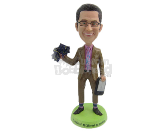 Custom Bobblehead Businessman In Formal Attire Ready Seal The Deal - Careers & Professionals Corporate & Executives Personalized Bobblehead & Cake Topper