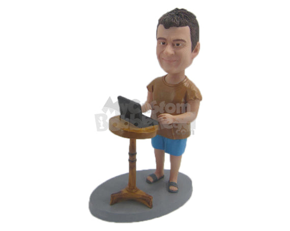 Custom Bobblehead Cool Pal In A T-Shirt And Shorts Working From Home - Careers & Professionals Corporate & Executives Personalized Bobblehead & Cake Topper