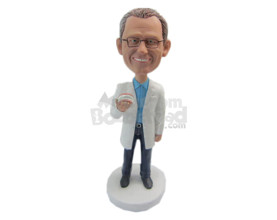 Custom Bobblehead Male Dentist Holding A Denture Prop - Careers & Professionals Dentists Personalized Bobblehead & Cake Topper