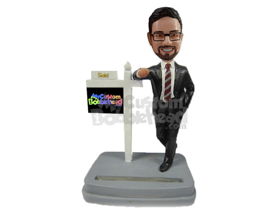 Custom Bobblehead Male Real Estate Agent In Trendy Suit Standing By Sign - Careers & Professionals Real Estate Agents Personalized Bobblehead & Cake Topper