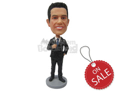 Custom Bobblehead Corporate Guy In His Formal Attire Having A Pose - Careers & Professionals Corporate & Executives Personalized Bobblehead & Cake Topper