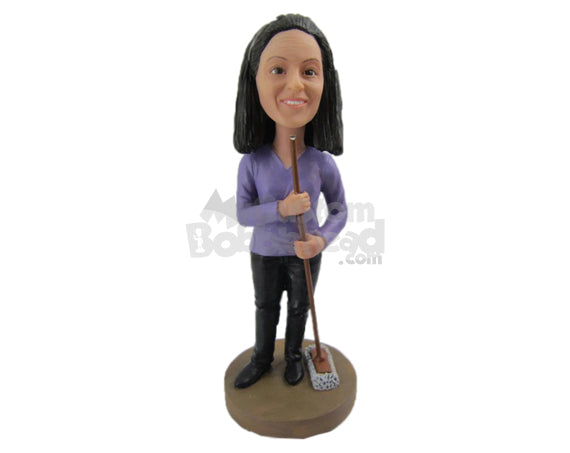 Custom Bobblehead Housewife Wearing A Long-Sleeved Top Cleaning With A Broom In Hand - Careers & Professionals Casual Females Personalized Bobblehead & Cake Topper