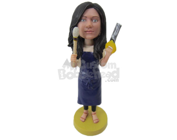 Custom Bobblehead Housewife Wearing Suspenders And Doing The Cleaning Work - Careers & Professionals Casual Females Personalized Bobblehead & Cake Topper