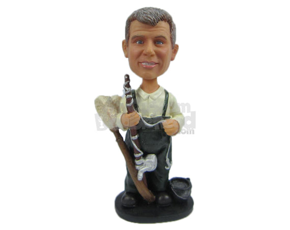Custom Bobblehead Gentlemen Wearing Suspenders With A Piece Of Wood And Some Laces In His Hand - Careers & Professionals Casual Males Personalized Bobblehead & Cake Topper