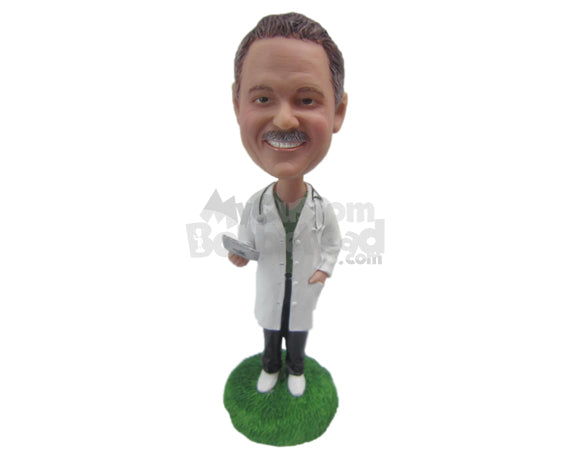 Custom Bobblehead Male Doctor With A Lab Coat, Sneakers On And Hands In Pocket - Careers & Professionals Medical Doctors Personalized Bobblehead & Cake Topper