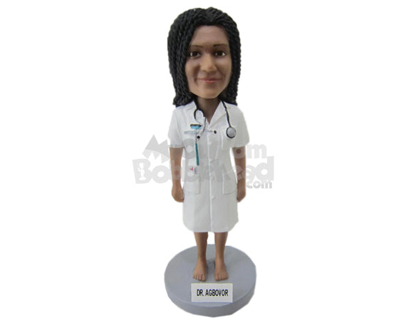 Custom Bobblehead Female Doctor With Stethoscope Around The Neck - Careers & Professionals Medical Doctors Personalized Bobblehead & Cake Topper