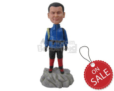 Custom Bobblehead Rock Climber In His Tracksuit Ready To Climb - Careers & Professionals Climbing Personalized Bobblehead & Cake Topper