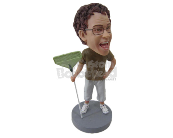 Custom Bobblehead Cool Dude With A Broom Wearing T-Shirt And Jeans - Careers & Professionals Casual Males Personalized Bobblehead & Cake Topper