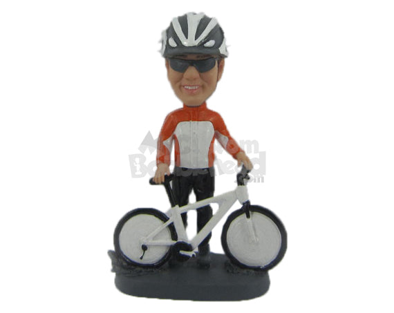 Custom Bobblehead Male Bike Racer Standing Behind Mountain Bike Moments Before The Race - Sports & Hobbies Cycling Personalized Bobblehead & Cake Topper