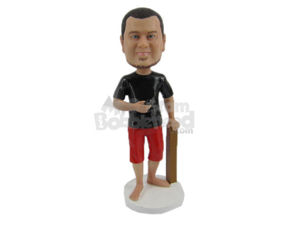 Custom Bobblehead Cool Sports Pal In Surfing Attire Standing Next To A Stick - Sports & Hobbies Surfing & Water Sports Personalized Bobblehead & Cake Topper