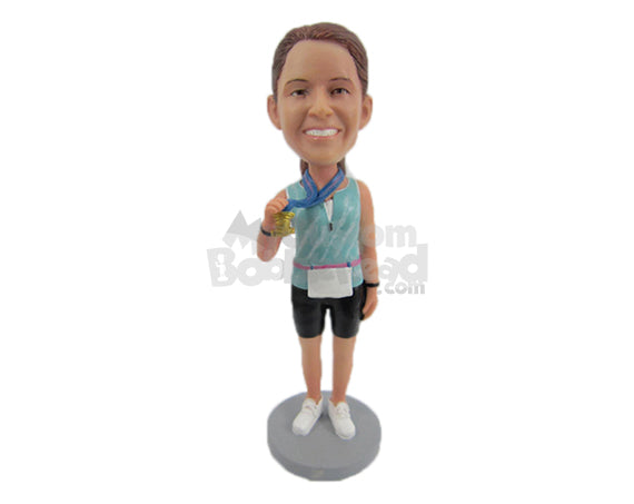 Custom Bobblehead Female Marathon Runner Showing Off Her Gold Medal - Sports & Hobbies Running Personalized Bobblehead & Cake Topper