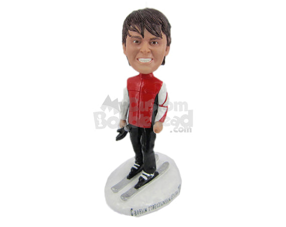 Custom Bobblehead Male Skier Posing Before Going Down The Slopes - Sports & Hobbies Skiing & Skiing Personalized Bobblehead & Cake Topper