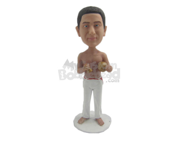 Custom Bobblehead Brazilian Martials Artist In Relaxed Pose Ready To Scare You Off - Sports & Hobbies Boxing & Martial Arts Personalized Bobblehead & Cake Topper