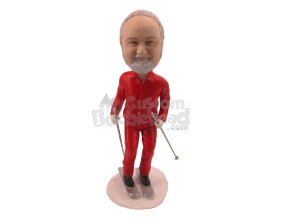 Custom Bobblehead Down The Hill Skier In Full Skiing Outfit - Sports & Hobbies Skiing & Skating Personalized Bobblehead & Cake Topper