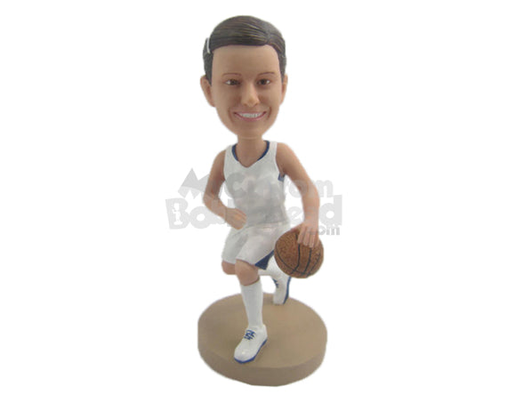 Custom Bobblehead Superstar Female Basketball Player Running With Ball - Sports & Hobbies Basketball Personalized Bobblehead & Cake Topper